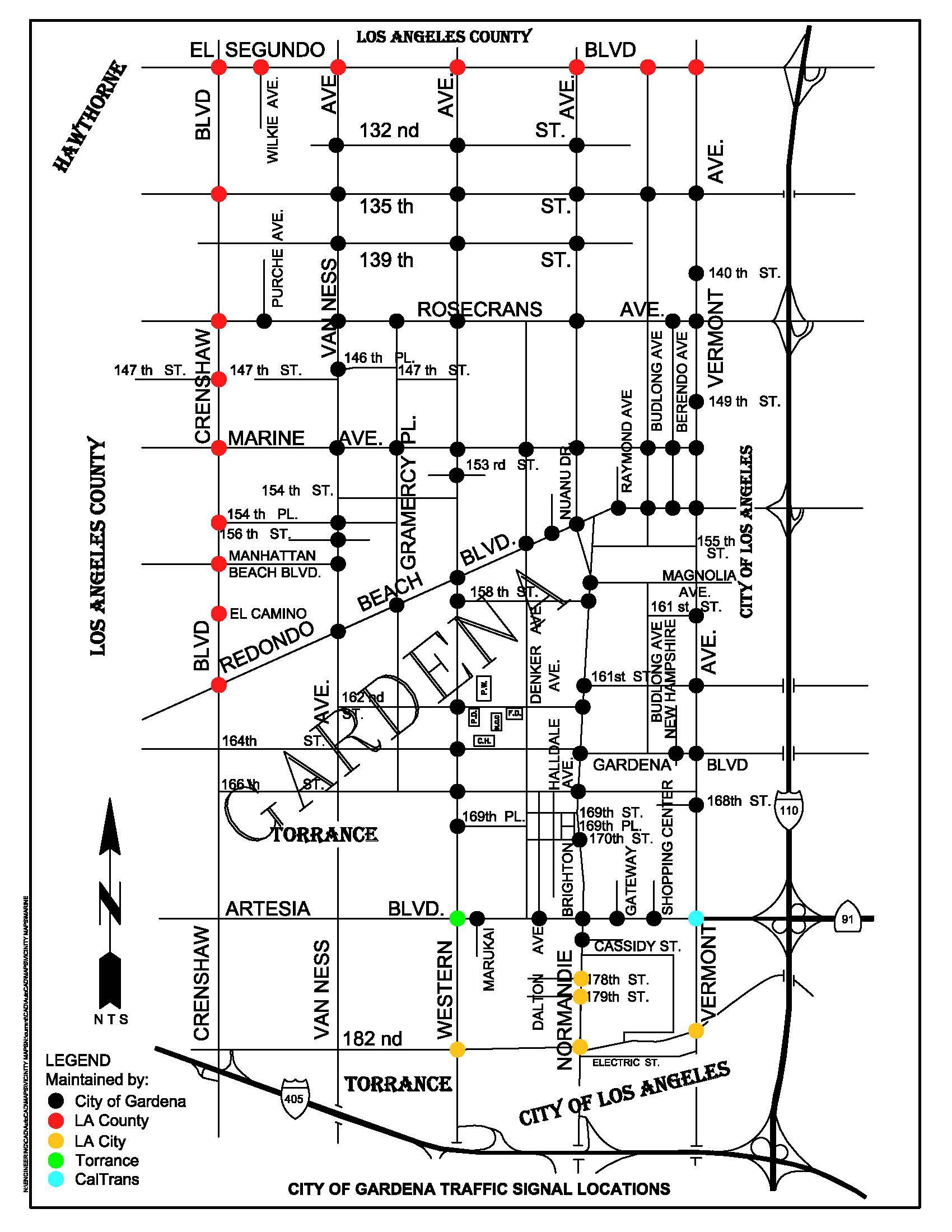 City Maps Of Gardena Traffic Light State Diagram Signal Map